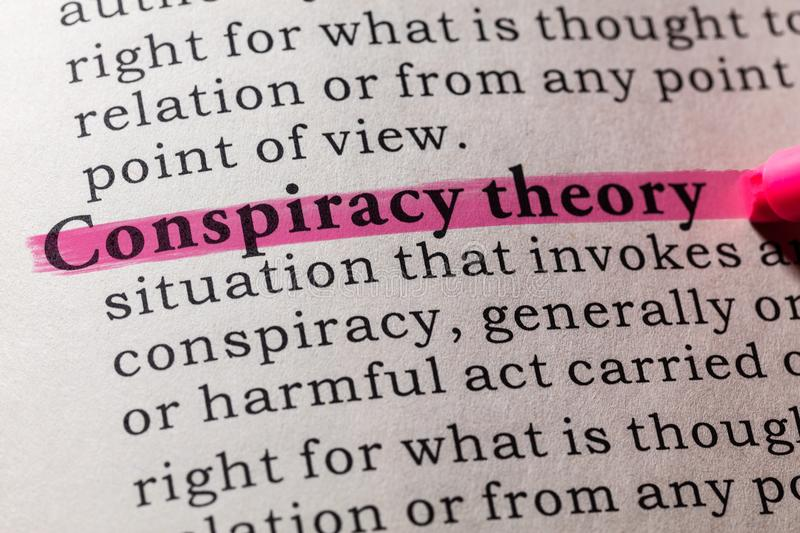 Definition of conspiracy theory. Fake Dictionary, Dictionary definition of the word conspiracy theory. including key descriptive words royalty free stock images