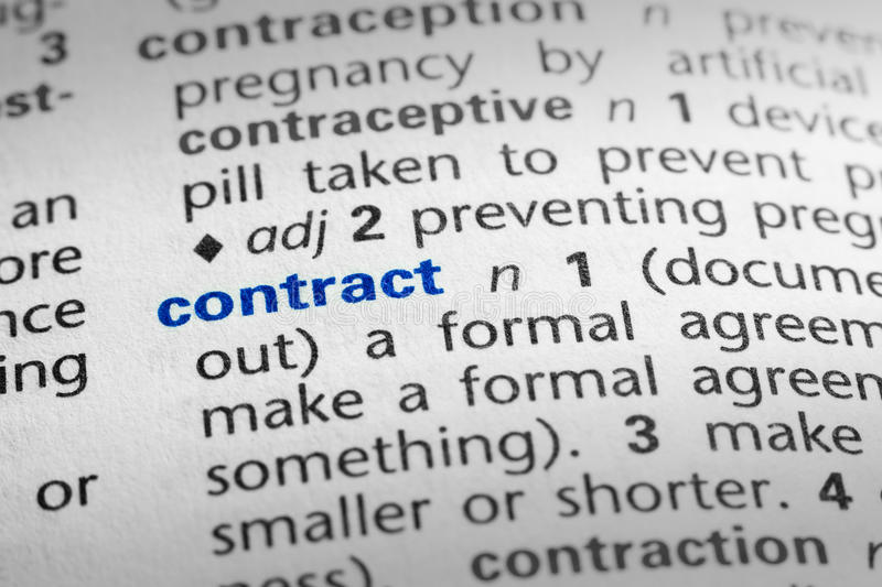 Definition of Contract stock image