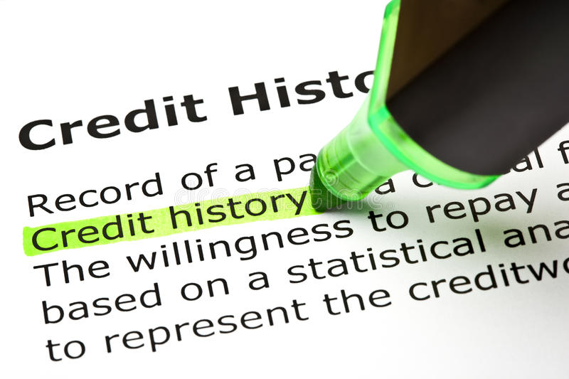 Definition Of Credit History. Credit history highlighted in green, under the heading Credit history royalty free stock photography