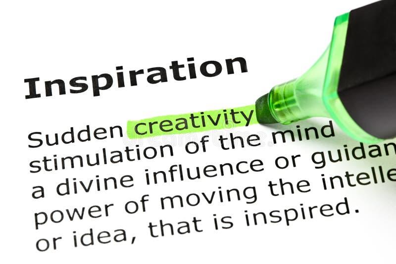 Definition der Inspiration stockfotos