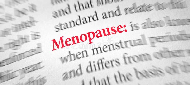 Definition der Wort Menopause in einem Wörterbuch stockfotos