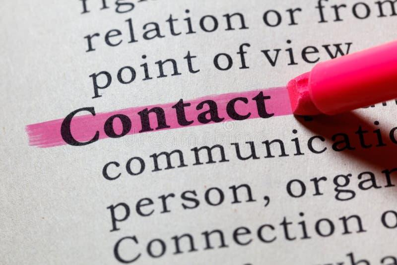 Definition des Kontaktes lizenzfreies stockbild