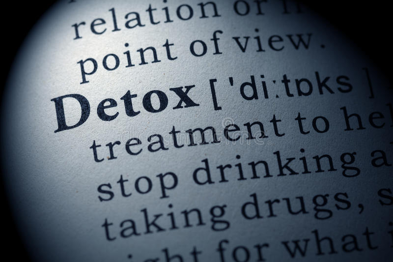 Definition of detox stock images