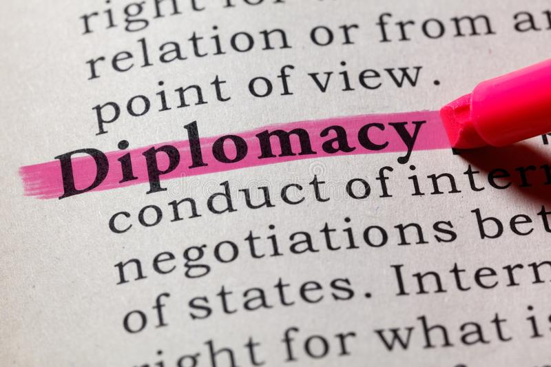 Definition of diplomacy. Fake Dictionary, Dictionary definition of the word diplomacy. including key descriptive words stock image