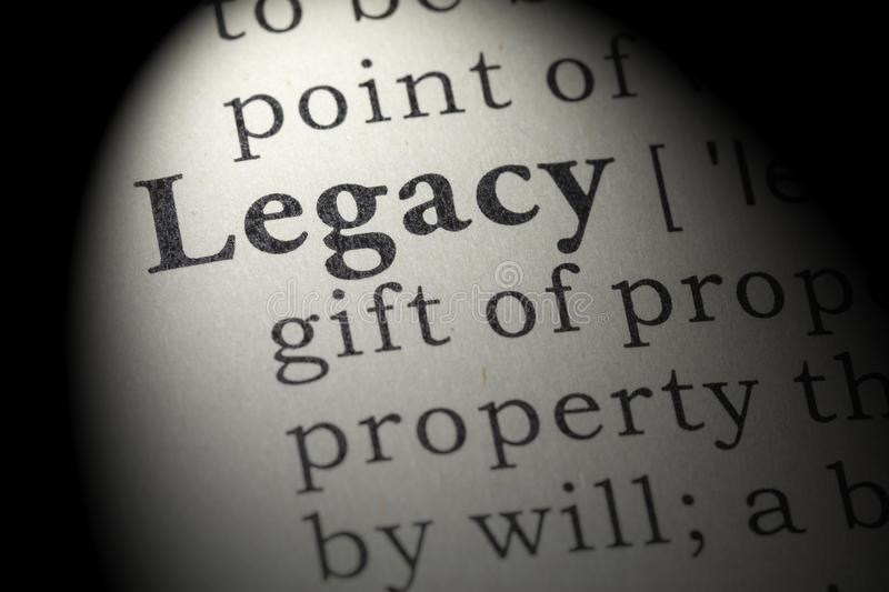 Definition of legacy. Fake Dictionary, Dictionary definition of the word legacy. including key descriptive words stock photo