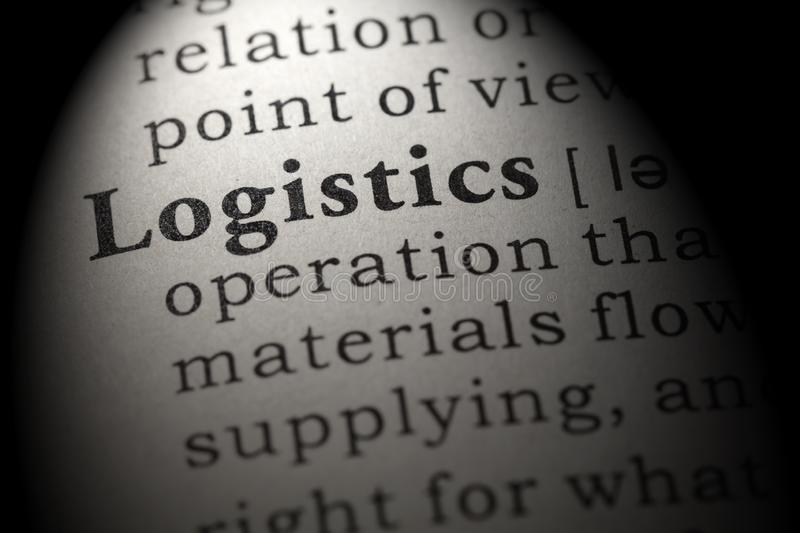 Definition of logistics. Fake Dictionary, Dictionary definition of the word logistics . including key descriptive words stock image