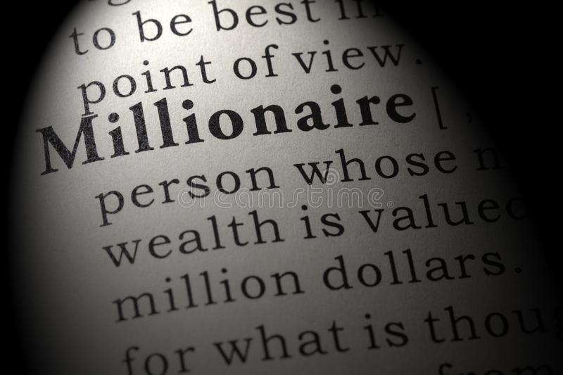 Definition of Millionaire. Fake Dictionary, Dictionary definition of the word Millionaire. including key descriptive words royalty free stock photography