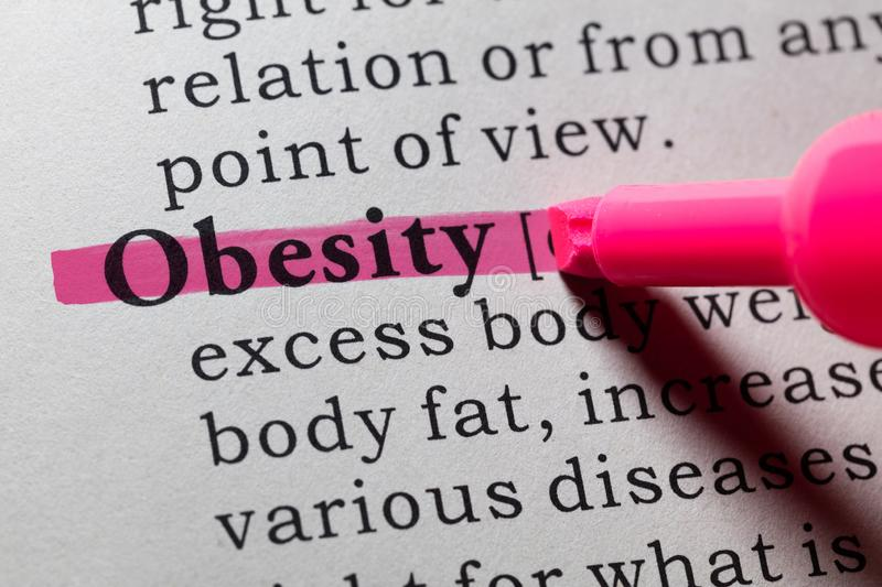 Definition of obesity. Fake Dictionary, Dictionary definition of the word obesity stock image