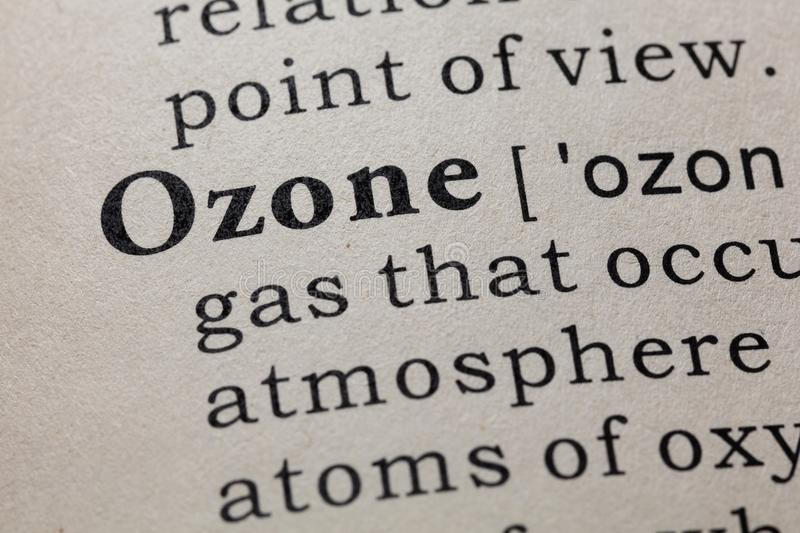 Definition of ozone. Fake Dictionary, Dictionary definition of the word ozone. including key descriptive words stock photography