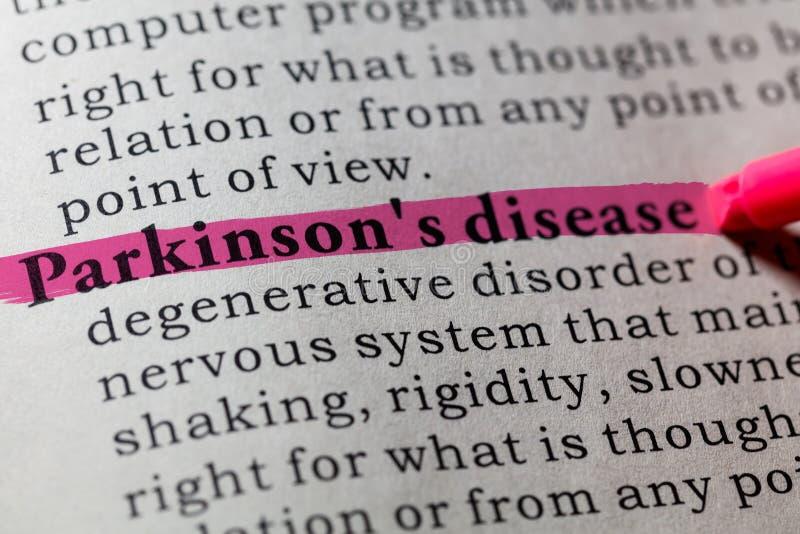 Definition of Parkinson`s disease. Fake Dictionary, Dictionary definition of the word Parkinson`s disease. including key descriptive words stock photo