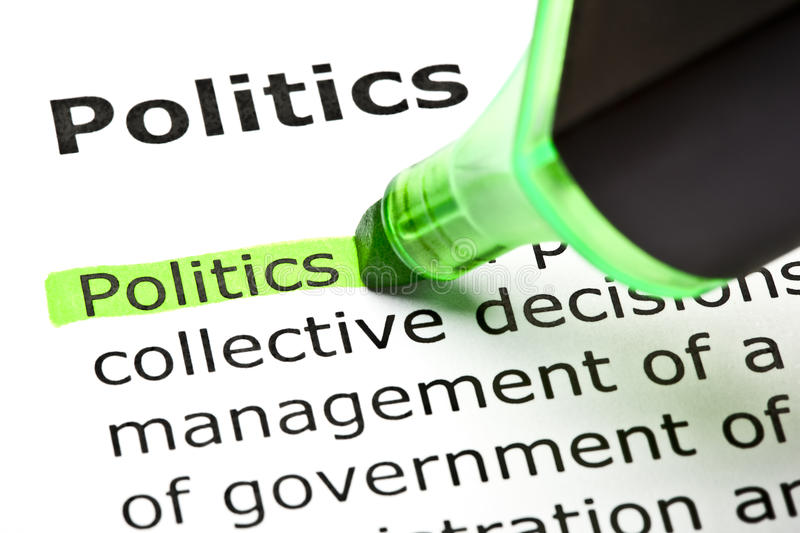 Definition Of Politics. The word Politics highlighted in green with text marker royalty free stock photo