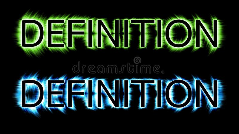 Definition text colorful shade on black color background royalty free illustration
