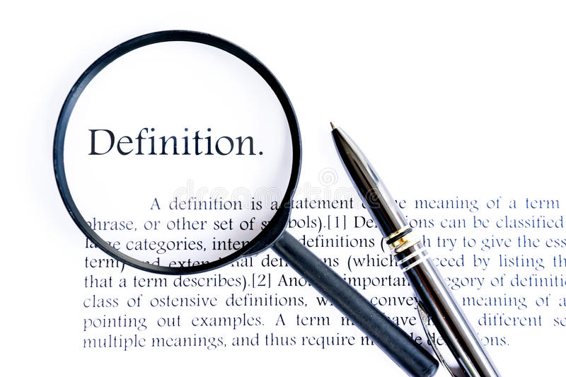 Definition text focus on white background royalty free stock photography