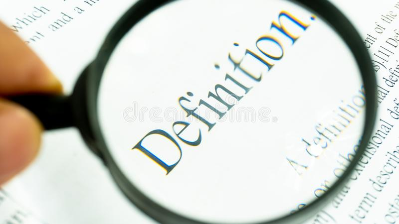 Definition text focus word on white background royalty free stock photo