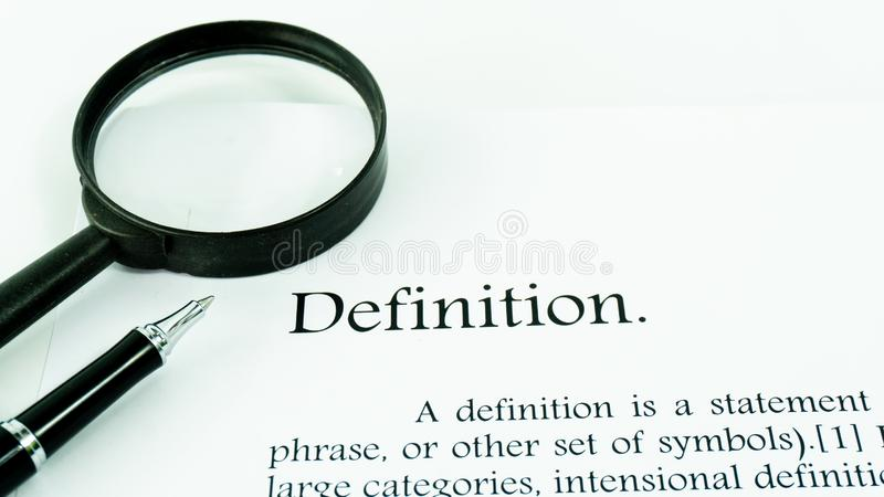Definition text focus word on white background royalty free stock image