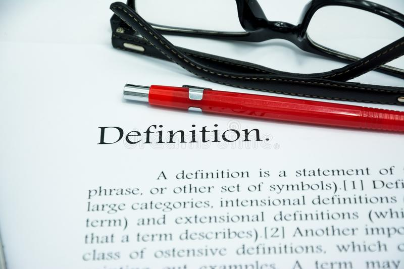Definition text focus word on white background royalty free stock photos