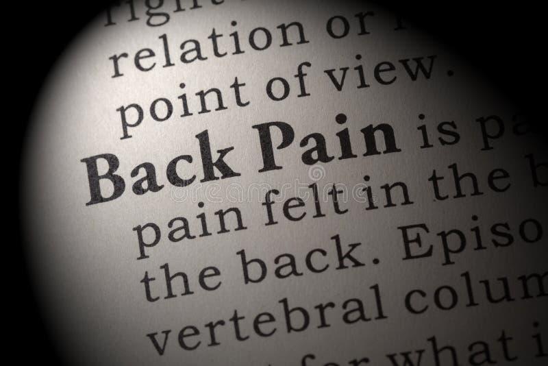 Definition von Rückenschmerzen stockbild
