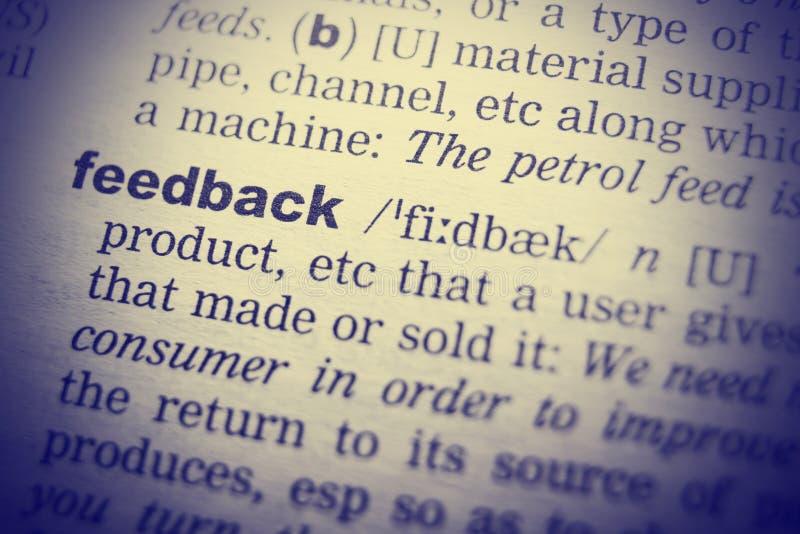 Definition von Wort Feedback im Wörterbuch Retro- Filter lizenzfreies stockfoto