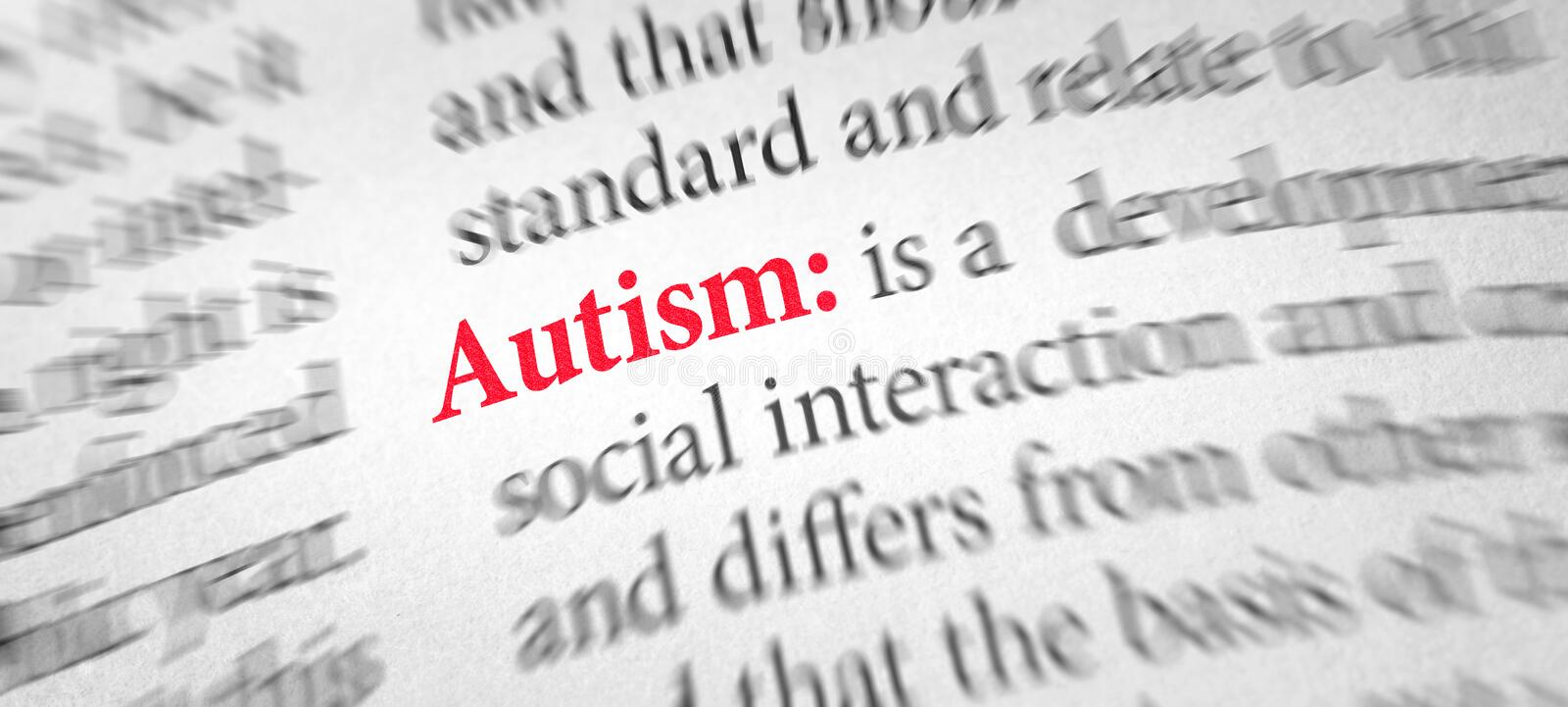 Definition of the word Autism in a dictionary royalty free stock photo
