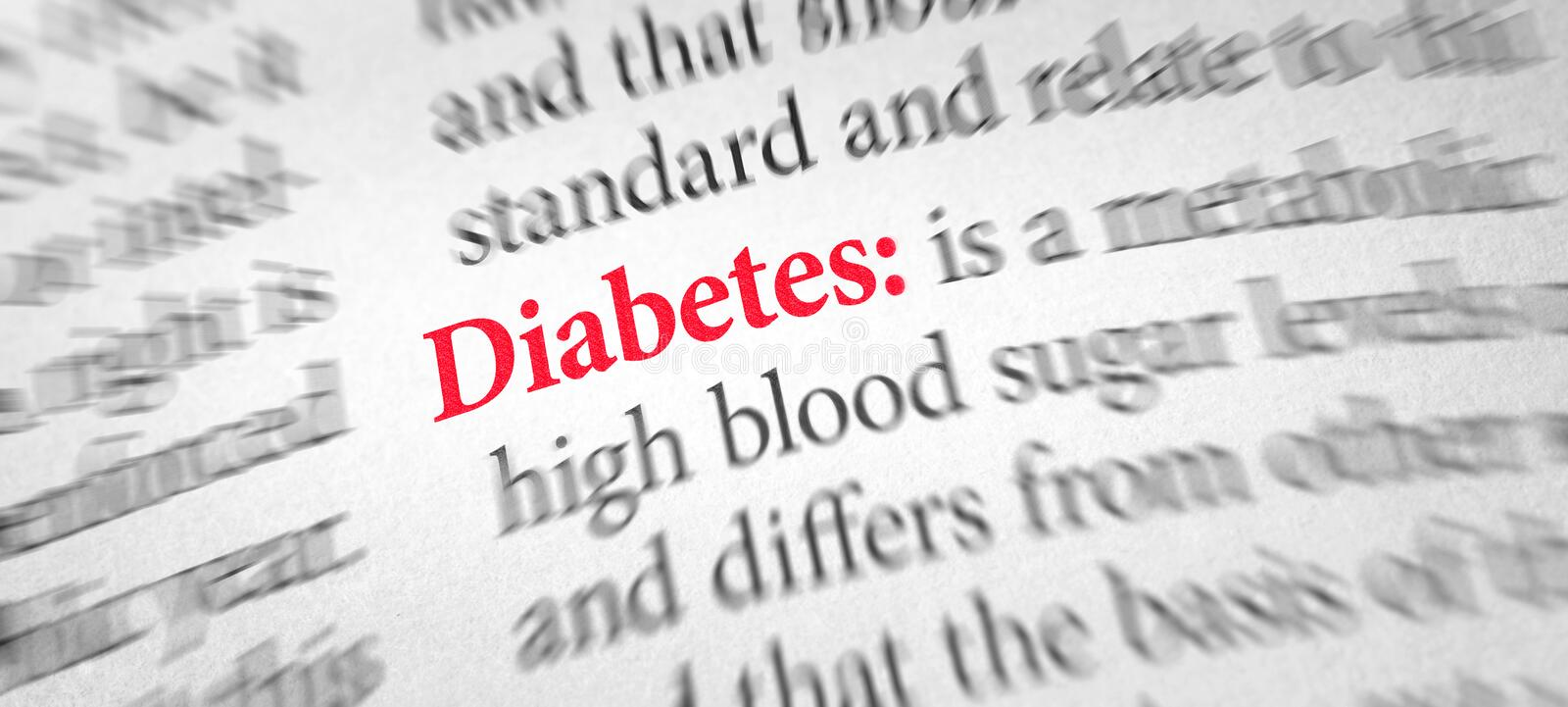 Definition of the word Diabetes in a dictionary stock photography