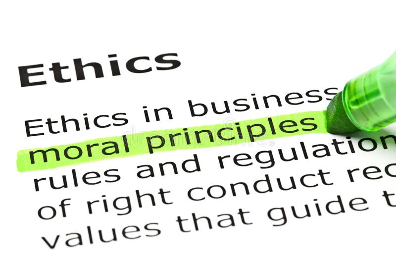 Definition Of The Word Ethics. Moral principles highlighted in green, under the heading Ethics royalty free stock photo