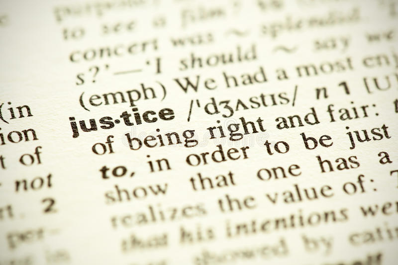 Definition of the word Justice stock photo
