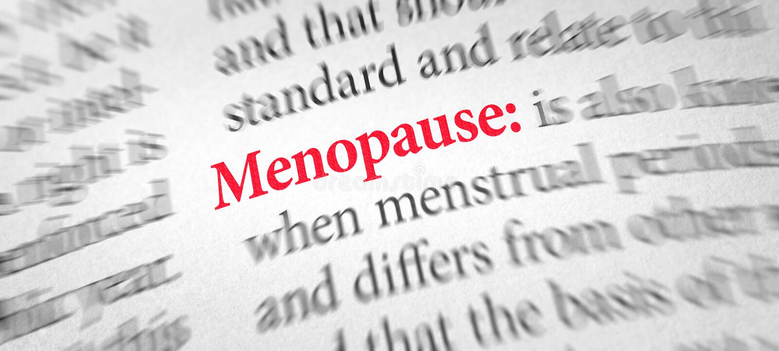 Definition of the word Menopause in a dictionary stock photos