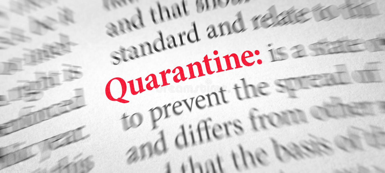 Definition of the word Quarantine in a dictionary stock photo