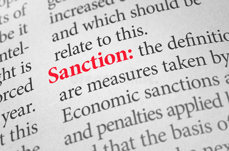Definition of the word Sanction royalty free stock photo