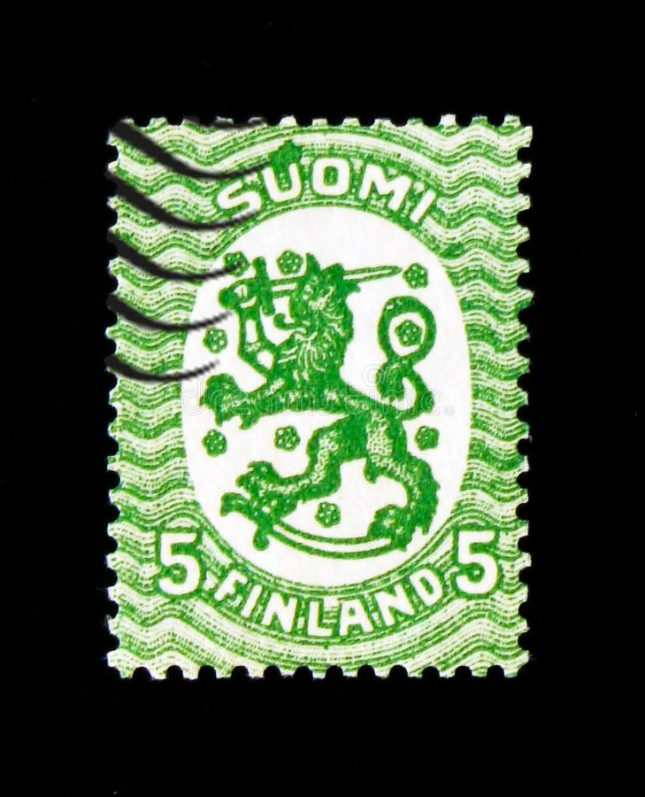 Definitive series I: Lion type m/17, Model Saarinen serie, circa 1917. MOSCOW, RUSSIA - SEPTEMBER 3, 2017: A stamp printed in Finland shows Definitive series I stock image