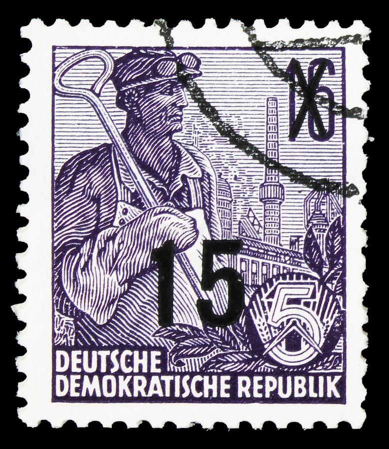 Definitives overprinted, Five-year Plan serie, circa 1954. MOSCOW, RUSSIA - SEPTEMBER 22, 2019: Postage stamp printed in Germany, Democratic Republic, shows royalty free stock photography