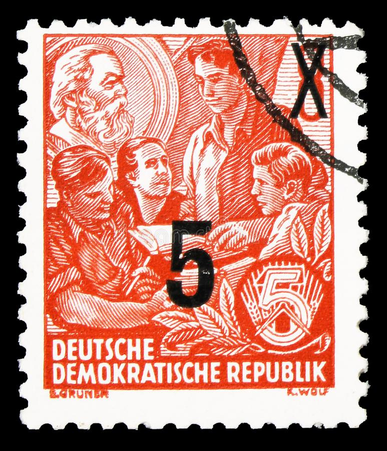 Definitives overprinted, Five-year Plan serie, circa 1954. MOSCOW, RUSSIA - SEPTEMBER 22, 2019: Postage stamp printed in Germany, Democratic Republic, shows stock image