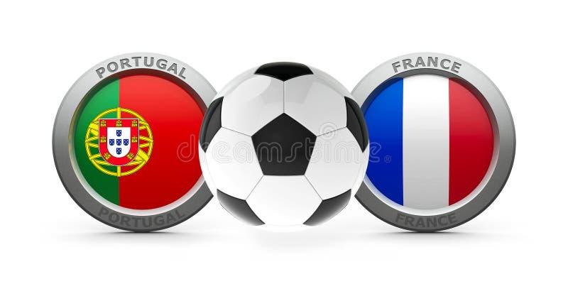Definitywny euro 2016 - Portugalia vs Francja royalty ilustracja