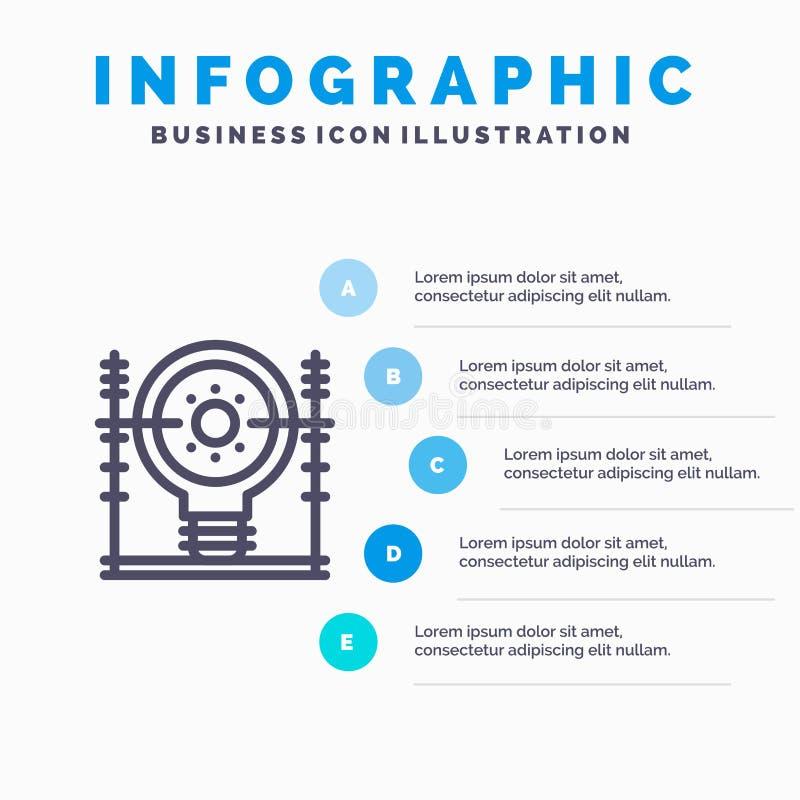 Definiuje, energia, inżynieria, pokolenie, linii energetycznej ikona z 5 kroków prezentacji infographics tłem ilustracja wektor