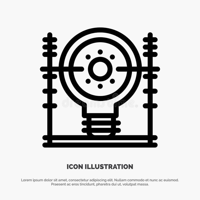 Definiuje, energia, inżynieria, pokolenie, linii energetycznej ikony wektor ilustracja wektor