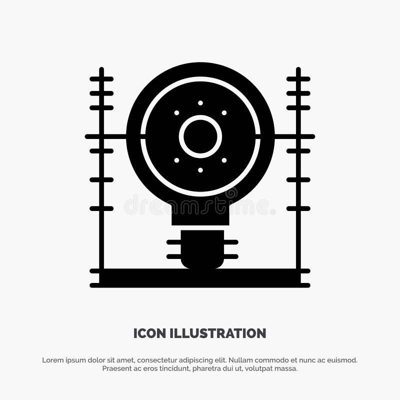 Definiuje, energia, inżynieria, pokolenie, władza glifu ikony stały wektor royalty ilustracja