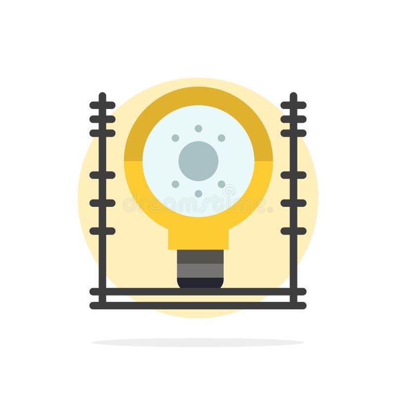 Definiuje, energia, inżynieria, pokolenie, władza okręgu Abstrakcjonistycznego tła koloru Płaska ikona royalty ilustracja