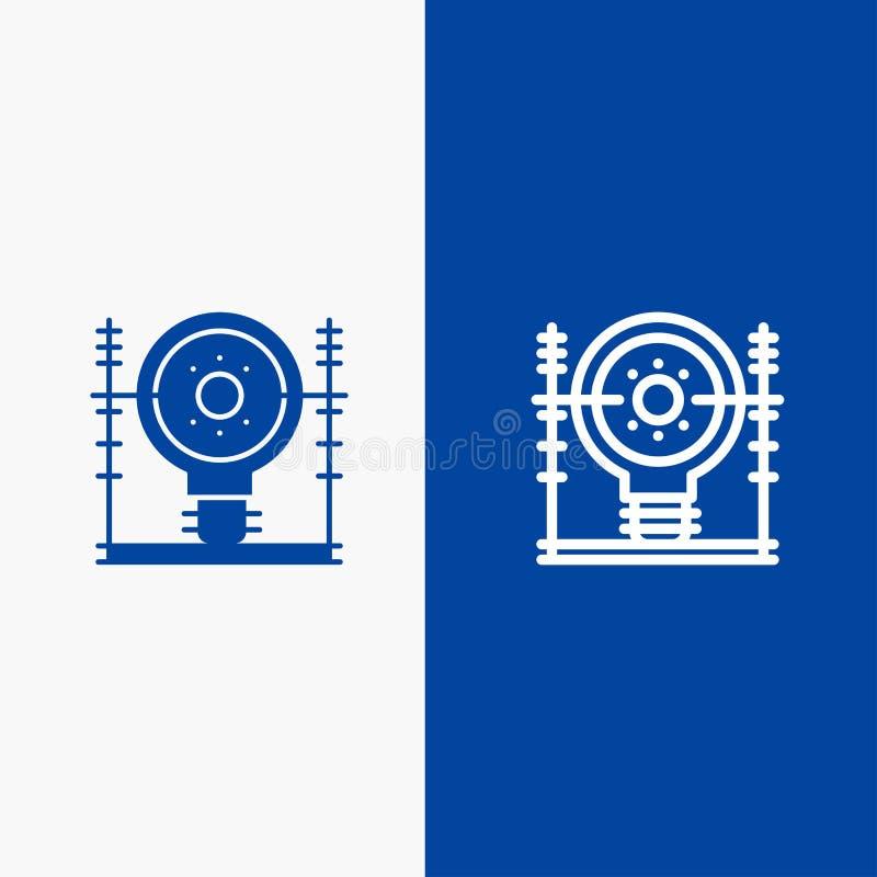 Definiuje, energii, inżynierii, pokolenia, linii energetycznej i glifu Stałej ikony sztandaru glifu, Błękitnej ikony błękita Stał royalty ilustracja