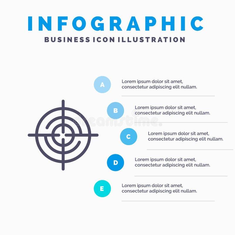 Definiuje, Gps, lokacja, nawigacji Kreskowa ikona z 5 kroków prezentacji infographics tłem ilustracji