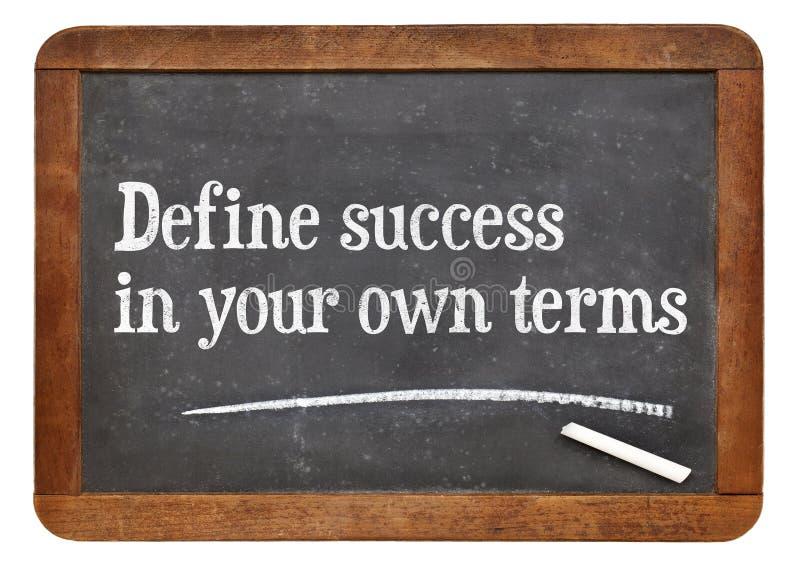 Definiuje sukces w twój swój terminach obraz stock
