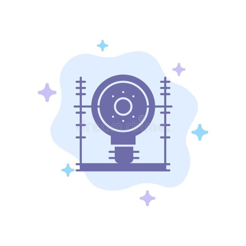 Definiuje, Zasila Błękitną ikonę na abstrakt chmury tle, energia, inżynieria, pokolenie, ilustracji