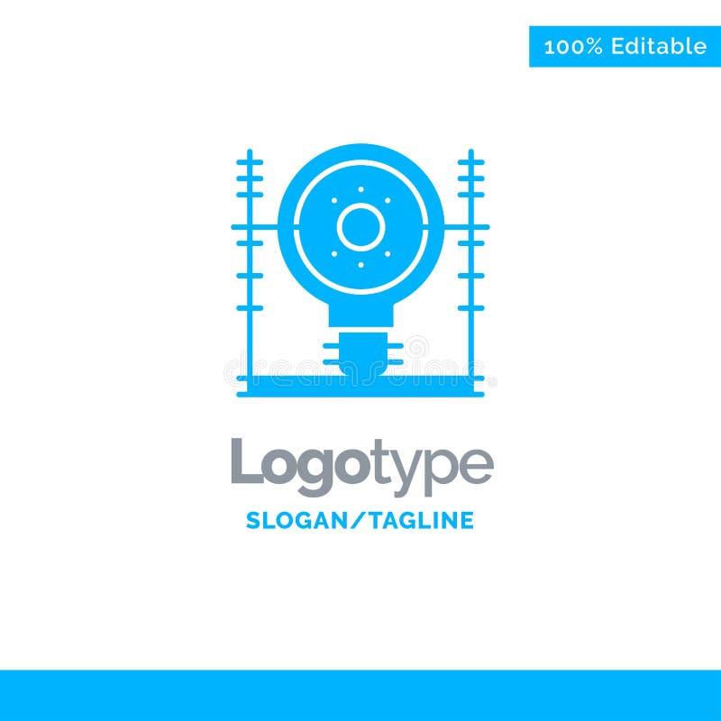 Definiuje, Zasila Błękitnego Stałego logo szablon, energia, inżynieria, pokolenie, Miejsce dla Tagline royalty ilustracja