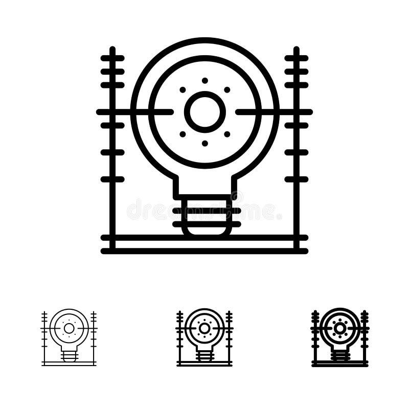 Definiuje, Zasila czerni linii ikony set, energia, inżynieria, pokolenie, Śmiałego i cienkiego royalty ilustracja