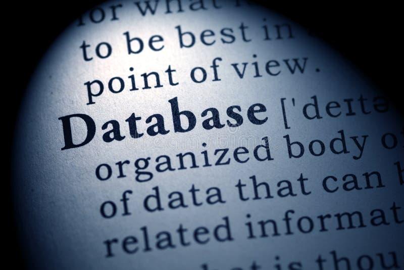 Definizione del database delle parole fotografia stock libera da diritti