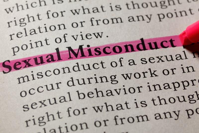 Definizione di cattiva condotta sessuale fotografie stock