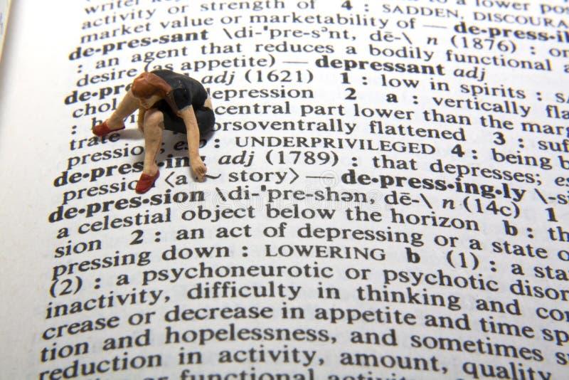Definizione di depressione fotografia stock