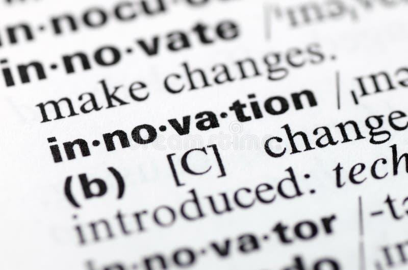 Definizione di dizionario dell'innovazione di parola, primo piano fotografia stock