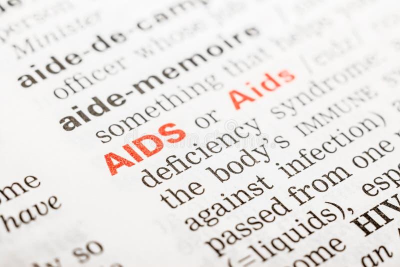 Definizione di parola dell'AIDS fotografie stock libere da diritti