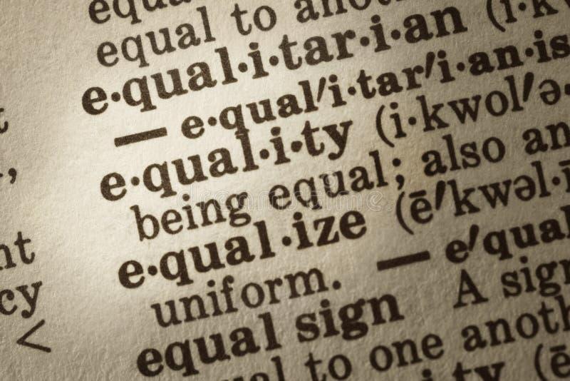 Definizione di uguaglianza immagine stock libera da diritti