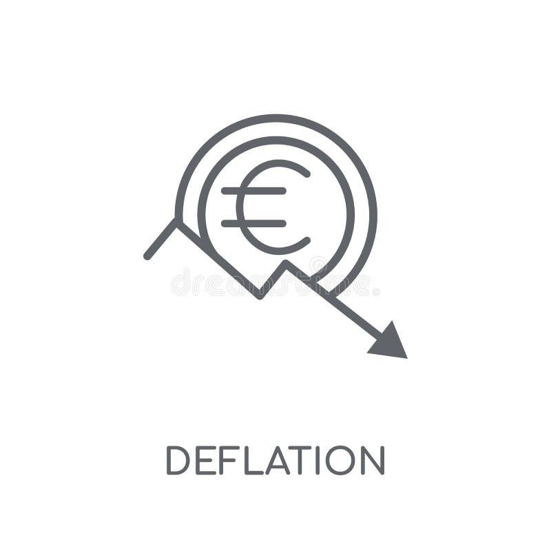 Deflacji liniowa ikona Nowożytny kontur deflacji logo pojęcie dalej ilustracja wektor